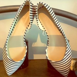 Blue and White Striped Pointed Flats